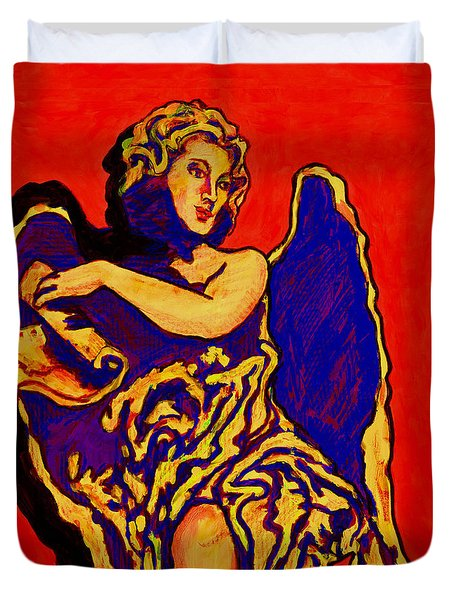 Angel On Red Duvet Cover