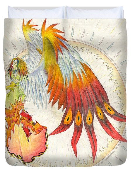 Duvet Cover featuring the painting Angel Phoenix by Shawn Dall