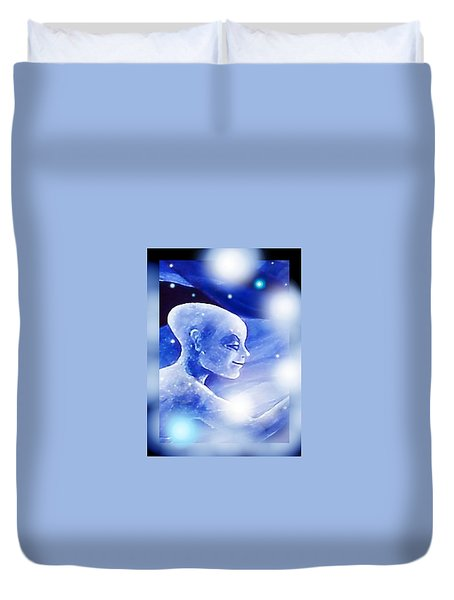 Duvet Cover featuring the painting Angel Portrait by Hartmut Jager