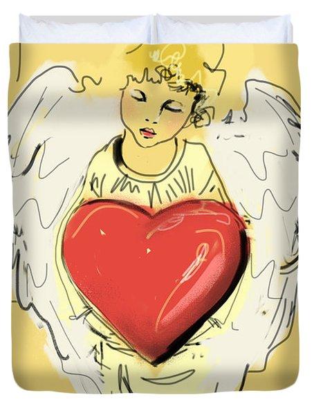 Angel Red Heart Duvet Cover