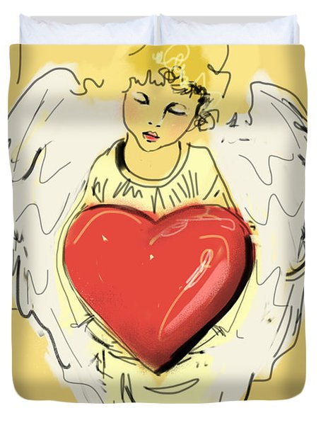 Duvet Cover featuring the painting Angel Red Heart by Go Van Kampen