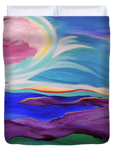 Duvet Cover featuring the painting Angel Sky by First Star Art