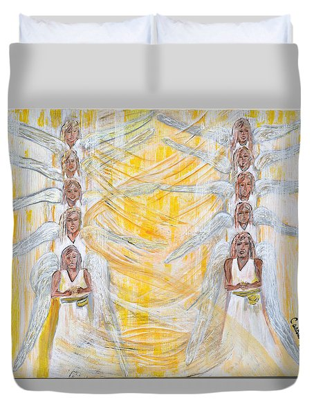 Angel Winds Flames Of Fire Duvet Cover by Cassie Sears