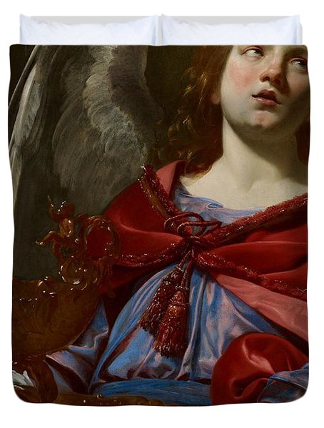 Angel With Attributes Of The Passion Duvet Cover by Simon Vouet
