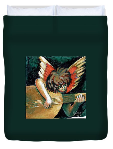 Angel With Lute Duvet Cover