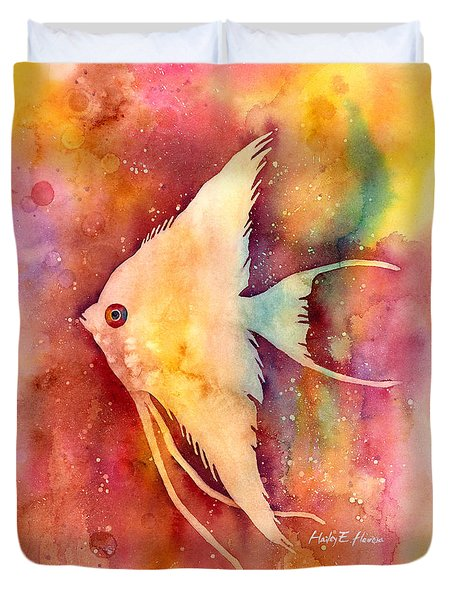 Duvet Cover featuring the painting Angelfish II by Hailey E Herrera