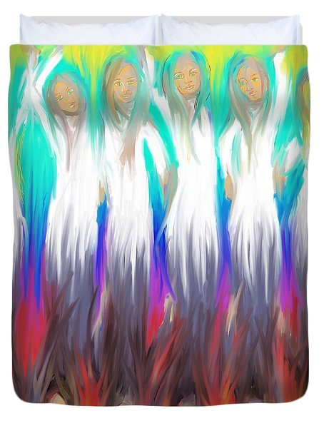 Duvet Cover featuring the painting Angels 3 26 2014 by Hidden  Mountain
