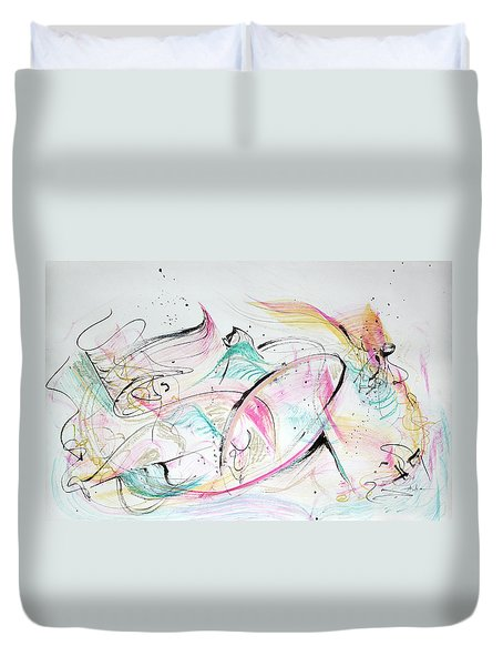 Duvet Cover featuring the painting Angels Arriving by Asha Carolyn Young