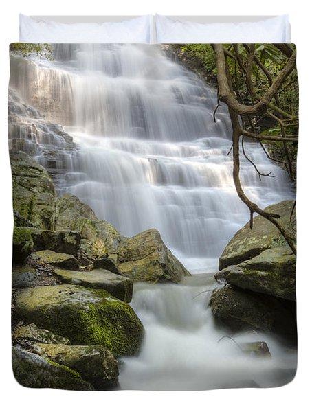 Angels At Benton Waterfall Duvet Cover by Debra and Dave Vanderlaan