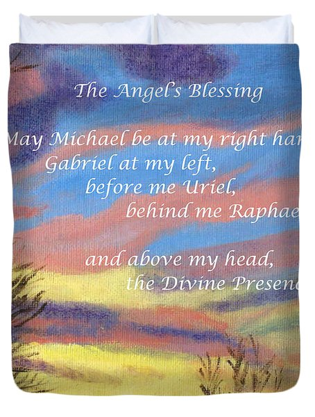 Duvet Cover featuring the painting Angel's Blessing by Linda Feinberg