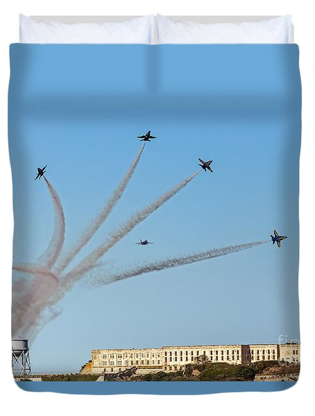 Angels Over Alcatraz Duvet Cover