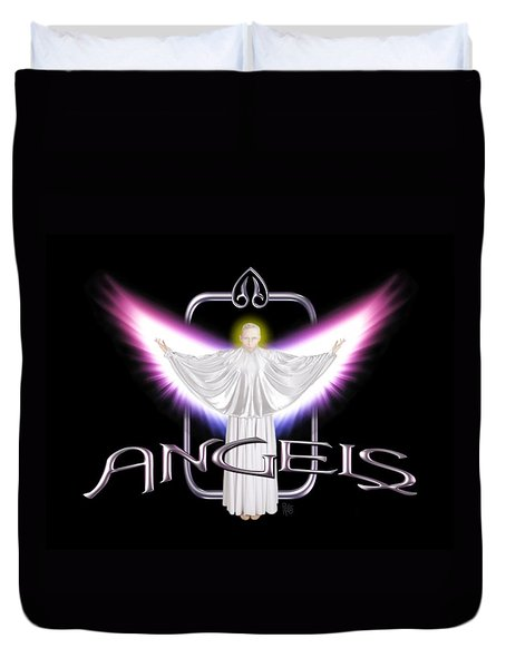 Duvet Cover featuring the digital art Angels by Scott Ross