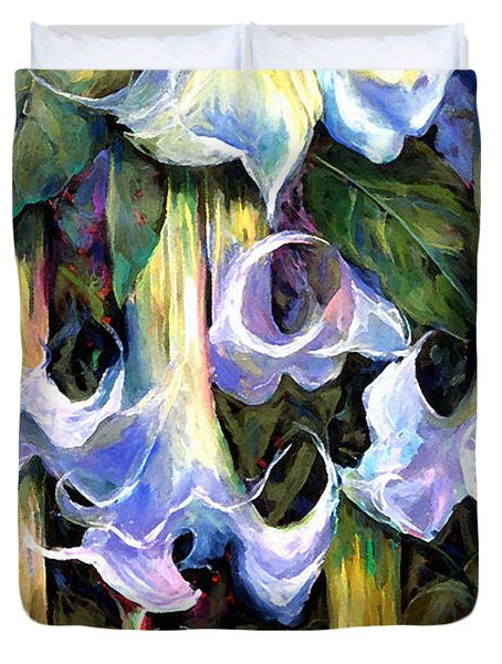 Angel's Trumpets - Floral Art By Betty Cummings Duvet Cover by Sharon Cummings