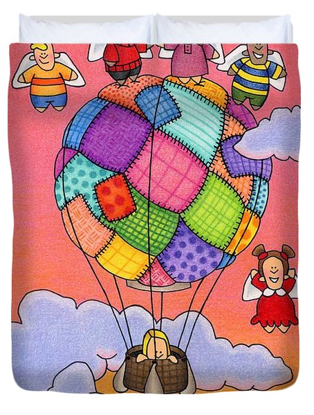 Angels With Hot Air Balloon Duvet Cover