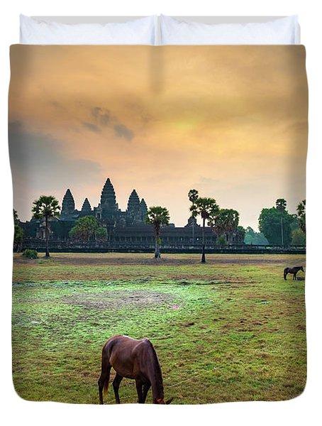 Angkor Wat At Sunrise, Siem Reap Duvet Cover