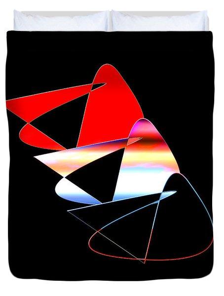 Duvet Cover featuring the digital art Angry Birds by Gunter Nezhoda