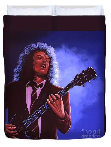 Angus Young Of Ac / Dc Duvet Cover