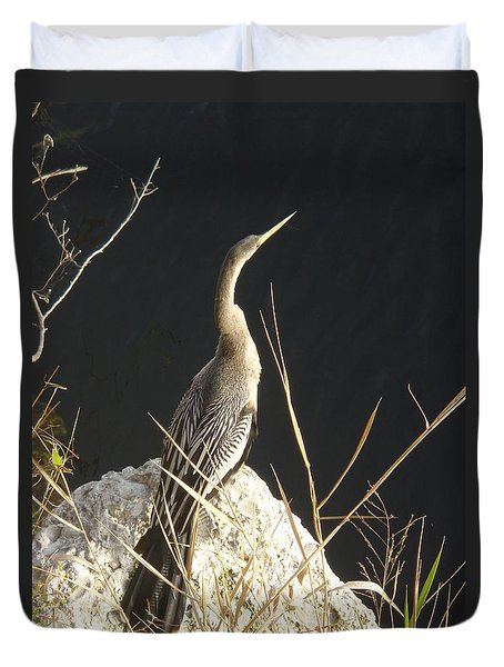 Duvet Cover featuring the photograph Anhinga by Robert Nickologianis