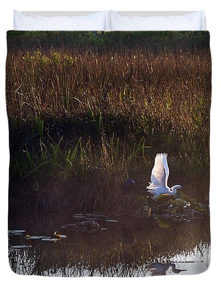 Anhinga Trail Sunrise Duvet Cover by Bruce Bain