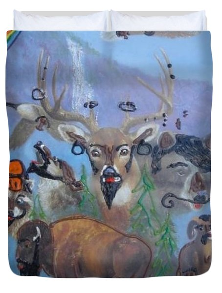 Duvet Cover featuring the painting Animal Equality by Lisa Piper