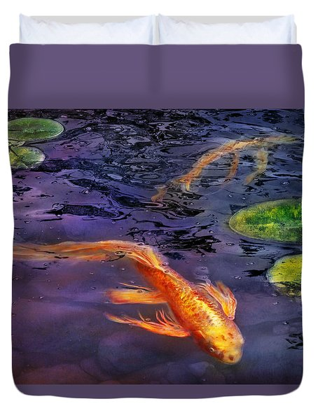 Animal - Fish - There's Something About Koi  Duvet Cover by Mike Savad