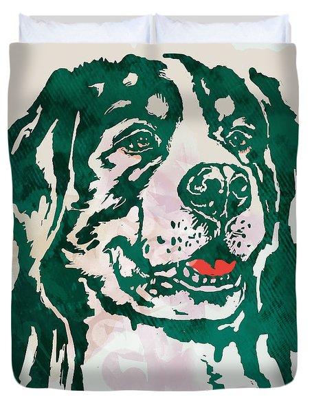 Animal Pop Art Etching Poster - Dog - 1 Duvet Cover