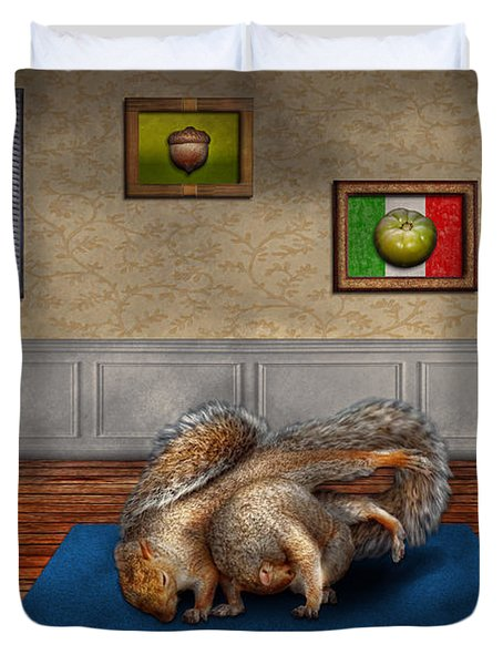 Animal - Squirrel - And Stretch Two Three Four Duvet Cover by Mike Savad