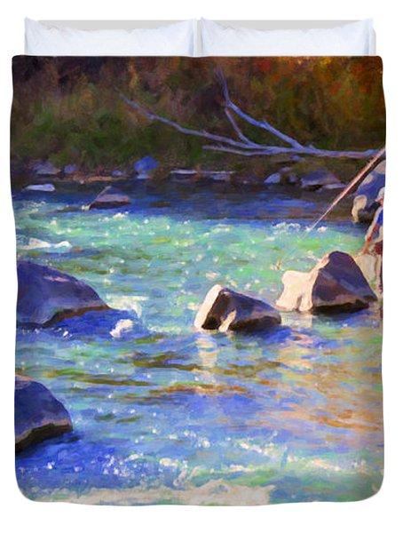 Animas River Fly Fishing Duvet Cover by Janice Rae Pariza
