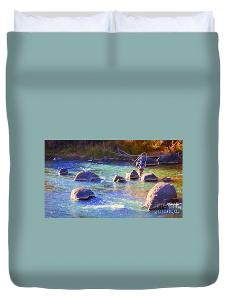 Animas River Fly Fishing Duvet Cover