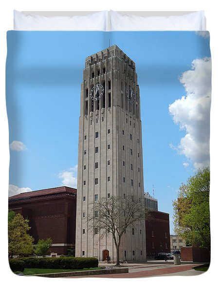 Ann Arbor Michigan Clock Tower Duvet Cover