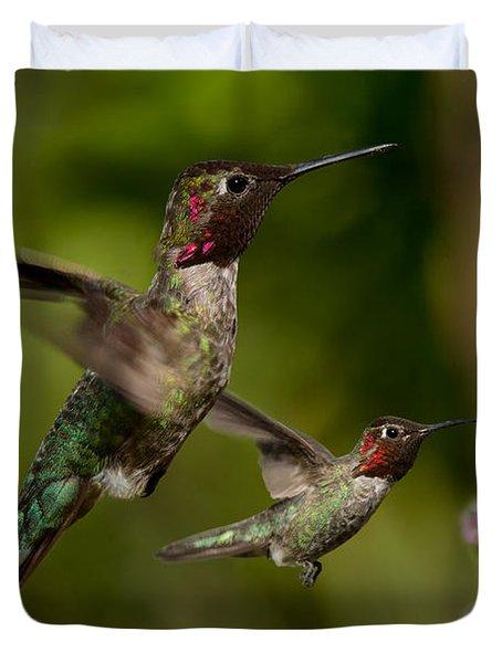 Anna's Hummingbirds In Flight Duvet Cover