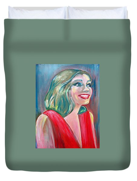 Anne Hathaway In Interview Duvet Cover by Patricia Taylor