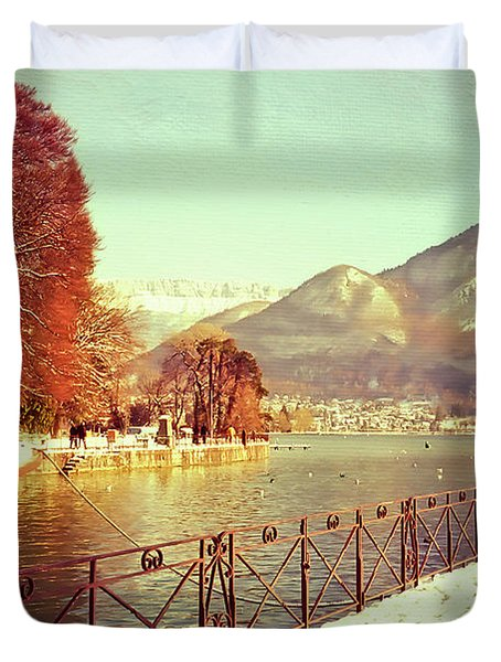 Annecy Golden Fairytale. France Duvet Cover by Jenny Rainbow