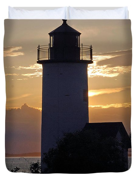 Annisquam Lighthouse Sunset Duvet Cover