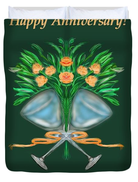 Duvet Cover featuring the digital art Anniversary Bouquet by Christine Fournier