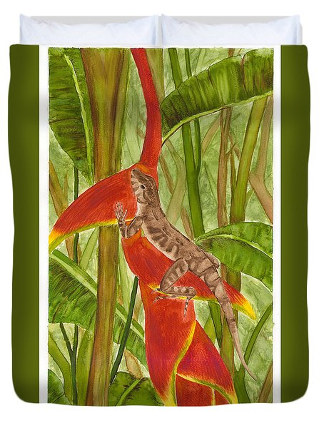 Anolis Humilis Duvet Cover by Cindy Hitchcock