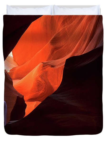 Antelope Canyon Keeper Of The Light Duvet Cover by Bob Christopher