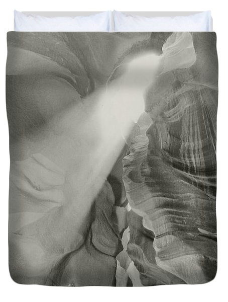 Antelope Canyon Light Black And White Duvet Cover