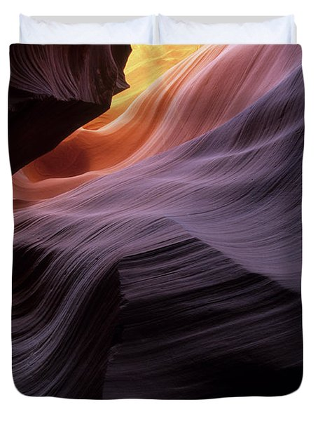 Antelope Canyon Movement In Stone Duvet Cover by Bob Christopher