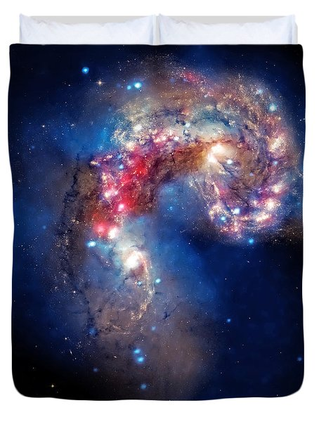 Antennae Galaxies Collide 2 Duvet Cover by Jennifer Rondinelli Reilly - Fine Art Photography