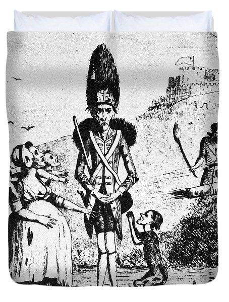 Anti-war Cartoon, 1775 Duvet Cover