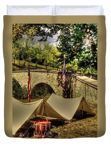 Antietam - 8th Connecticut Volunteer Infantry-a1 Encampment Near The Foot Of Burnsides Bridge Duvet Cover by Michael Mazaika