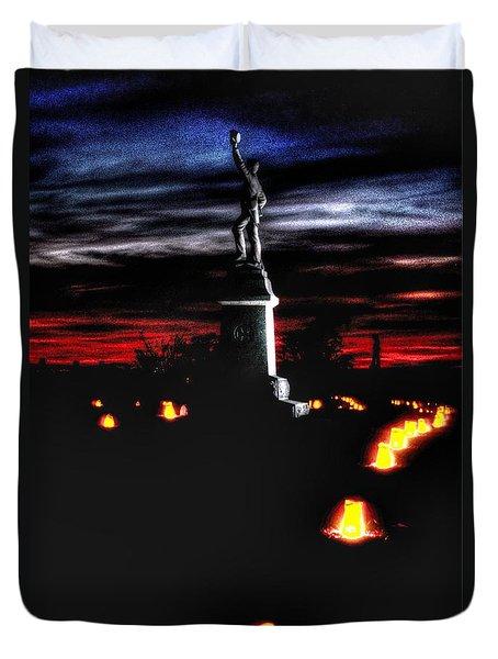 Duvet Cover featuring the photograph Antietam Memorial Illumination - 3rd Pennsylvania Volunteer Infantry Sunset by Michael Mazaika