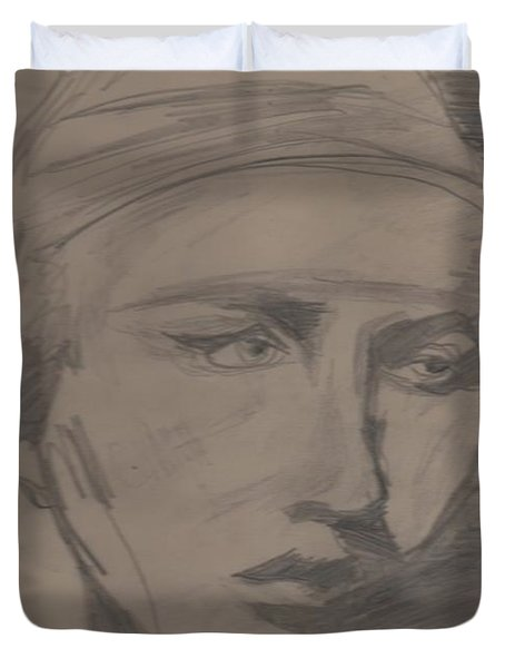 Duvet Cover featuring the drawing Antigone By Jrr by First Star Art