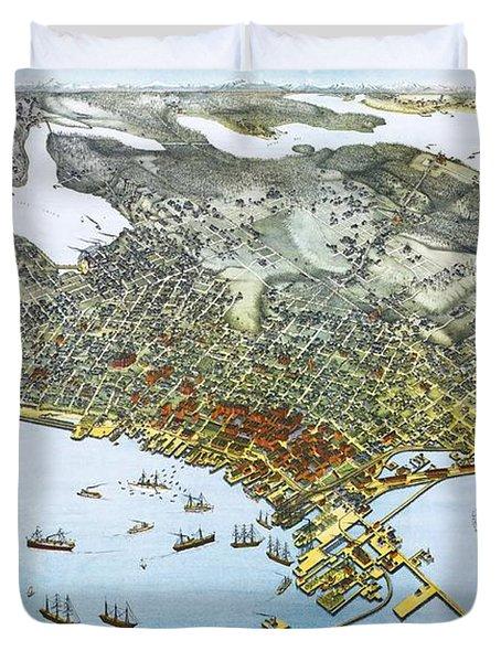 Antique 1891 Seattle Map Duvet Cover by Dan Sproul