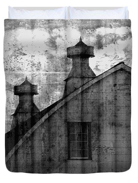 Antique Barn - Black And White Duvet Cover