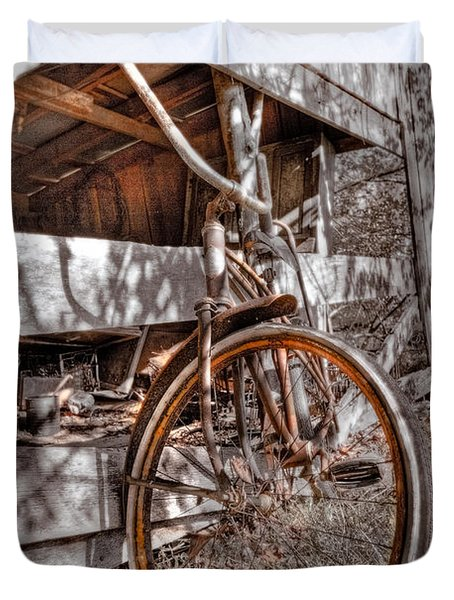 Antique Bicycle Duvet Cover by Debra and Dave Vanderlaan