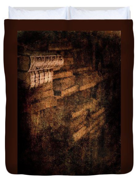 Antique Books On Dusty Book Shelves Duvet Cover by Loriental Photography