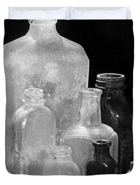 Antique Bottles 4 Black And White Duvet Cover by Phyllis Denton