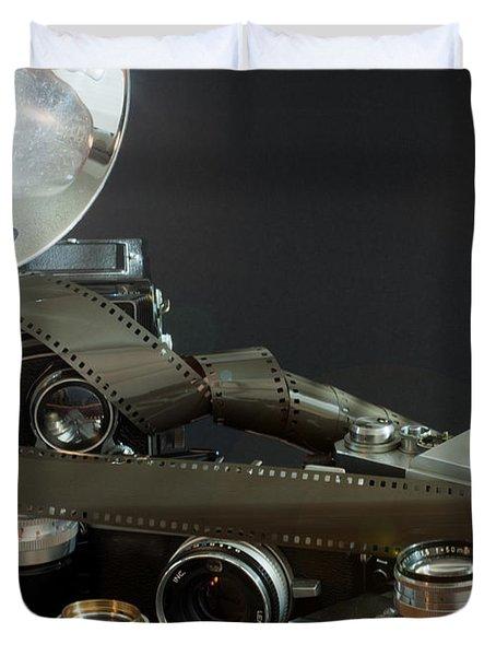 Duvet Cover featuring the photograph Antique Cameras by Gunter Nezhoda